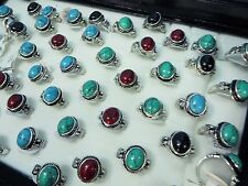 [US SELLER] 10 rings wholesale jewelry lot turquoise stone fashion ring