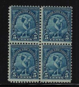 1932 Los Angeles Olympics Sc 719 MNH 5c blue rotary press, block of 4 (A