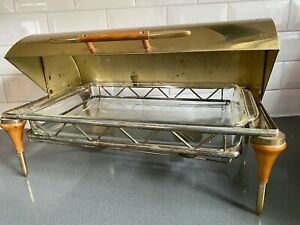 MCM Mid Century Roll Top Brass Chafing Dish Food Warmer Fire King 412