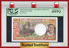 Tt Pk 2b 1996 French Pacific Territories 1,000 Francs Pcgs 69 Ppq Superb Gem!
