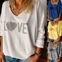 Plus Size Women Long Sleeve T-Shirt Ladies Holiday Casual Loose Blouse Tee Tops