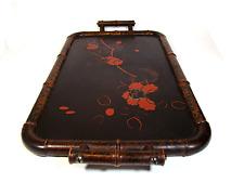 """Antico VASSOIO vernice lavoro su legno bambù WOOD BAMBOO LACQUER """"in tray"""" Giappone 1920s"""