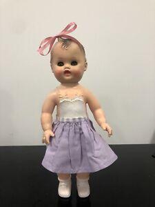 """Rubber Girl DOLL Vintage 1956 Sun Rubber Company 13"""" Molded Hair  Sleep Eyes"""