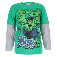 Marvel - Hulk Smash Boys Long Sleeve T-shirt - Age 3-10 Green/Grey