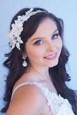 Crystal Wave Design Beaded Bridal Head Wrap & Floral Lace Applique 402-117