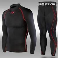 Mens Black Red Compression Long Sleeve Top + Pants Set Sports Base Layer Take 5