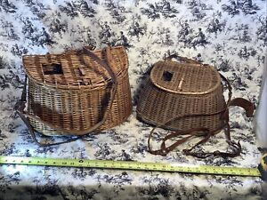 Antique Fly Trout Fishing Creel Basket 2 ttl. BOTH w/ leather Straps Shakespeare