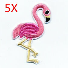 5pcs Pink Flamingo Bird Embroidery Iron On Patch Sew For Clothing Applique Motif