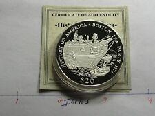 BOSTON TEA PARTY 1773 REVOLUTIONARY WAR RARE 2000 LIBERIA 999 SILVER COIN Q3