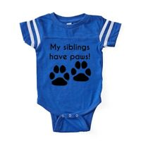 CafePress My Siblings Have Paws Baby Football Bodysuit (316871268)