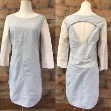 The Odells Dress Leather Sleeves Striped Anthropologie Medium