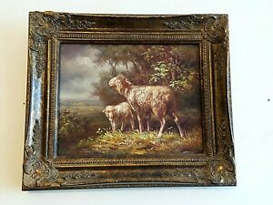 VINTAGE ORIGINAL OIL SHEEP AND BABY LAMB FRAMED AND SIGNED