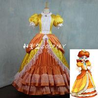 Super Mario Princess Daisy Costume Sisters Adult Women Cosplay Dress Bros Luigi