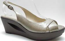 8b10eafa082a Calvin Klein Brown Patent Leather Slingback Platform Wedge Sandals Heels 8.5