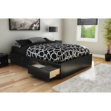 Functional Wood Platform Bed with 3 Drawers Underbed Storage Black Full Size