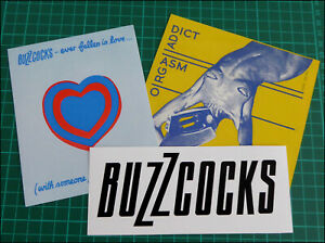 BUZZCOCKS, 3 x Large Glossy Vinyl Stickers, Orgasm Addict, Logo, Ever Fallen..