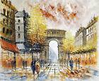 Paris Arc de Triomphe Street Scene Modern Art 20X24 Oil Painting STRETCHED