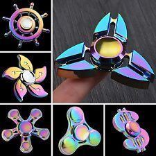 Tri Fidget Hand Spinner Triangle Rainbow Metal Color Finger Toy EDC Focus ADHD