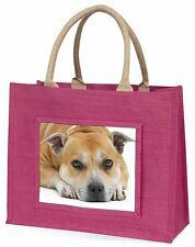 Red Staffordshire Bull Terrier Dog Large Pink Shopping Bag Christmas, AD-SBT3BLP
