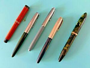 Lot of 5 Fountain Pens - Esterbrook, Schaeffer's, Parker, Welsh