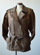 Oscar Leopold Women Leather Jacket Belt Military Trench Rustics Brown Canada  S