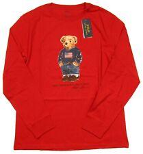 Polo Ralph Lauren Boys Red Polo Bear Graphic Long Sleeve T-Shirt