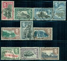 CEYLON 278-87 SG386-95 Used 1938-49 KGVI Defin short set of 10 to 1r Cat$8