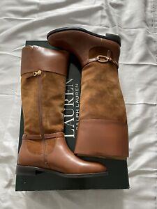 LAUREN RALPH LAUREN Brown Suede & Leather Riding BNWB Boots Size 5 RRP £190.00