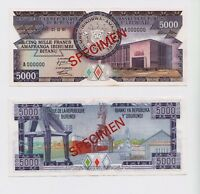 BURUNDI | SPECIMEN Banknote, 500 FRANCS, 1981, RARE, UNC grade