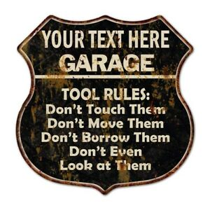 Your Name Garage Tool Rules Personalized Shield Metal Sign Gift 211110003001