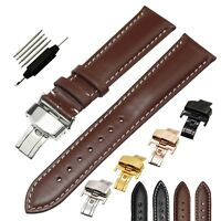 Genuine Leather Watch Band Strap Butterfly Deployment Clasp Replacement 18- 24mm