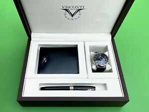 VISCONTI FIRENZE ITALY PEN, WATCH & WALLET COLLECTORS BOX SET - NEW WITH TAGS