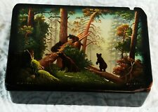 Vintage Russian Black Lacquer Box, Forest Bears Hand Painted