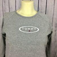 Tommy Hilfiger Womens Juniors Shirt Top M Block Flag Long Spell out Logo A4-20