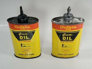 OLD VINTAGE LOT OF 2 OUTERS 445 GUN OIL TIN CANS 1 PLASTIC STEM 1 LEAD W/CAP EX+