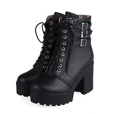Women High Heel Platform Side Zip Buckle Ankle Boot Lace Up Motor Shoe All UK Sz