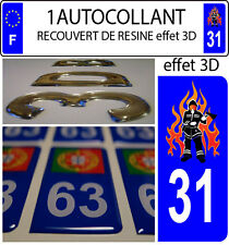 1 sticker plaque immatriculation auto DOMING 3D RESINE SAPEUR POMPIER DEPA 31