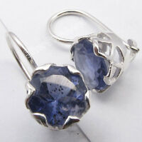 925 Solid Silver BLUE IOLITE Cute CAGE Setting Sparkling Earrings 1.9CM New