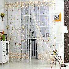 2 Farbwahl Schmetterling Druck Klar Voile Vorhänge Gardine Portiere Zimmer Dekor