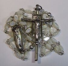 "† HTF SIGNED CREED VINTAGE STERLING MOTHER OF PEARL SMALL ROSARY 27"" NECKLACE †"
