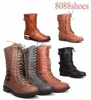 Women's Round Toe Low Heel Combat Military Lace Up Mid Calf Boots Size 5.5 - 10