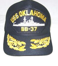 US NAVY CAP ORIGINAL USS OKLAHOMA BB-37 Made in USA Double Eggs One Size