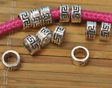 60pcs Tibet silver plated silver bead Tone Tube Spacer Charms  /Beads 8mm