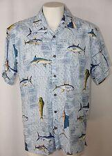 High Seas Trading Co Hawaiian Shirt Blue Fish Ocean Tuna Dolphin Sailfish Men M