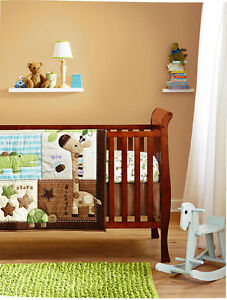 Boy Baby Nursery Bedding Set 7PCS Animals Comforter Bumper Sheet Crib Skirt 03