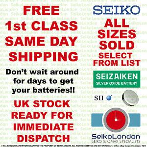 SEIZAIKEN SEIKO Silver Oxide Watch Battery ALL SIZES OF WATCH BATTERIES - FAST!!