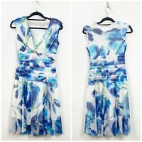 London Times 4 Womens Blue Floral Lace Sleeveless Pleated Shoulder Pads Dress
