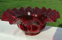 "FENTON ART GLASS - Ruby Red Bowl with Zig Zag Crimped Edge 8""W x 4.25""H Bowl"