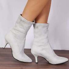 e93f09ffb00d6 LIGHT GREY KITTEN HEEL HEELED ANKLE BOOTS SOCK SHOES SIZE 3 4 5 6 7 8
