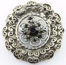 Vintage silver tone black rhinestone heart filigree openwork round brooch pin